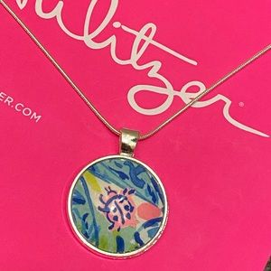 Handmade lilly Pulitzer lady bug necklace